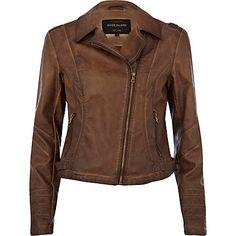 Brown leather look over dye biker jacket $120.00