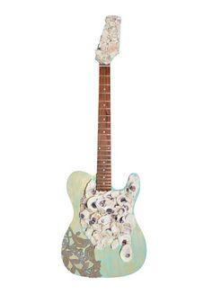 Custom Oyster Shell Guitar || $349 at Deja Vu.  Home Decoration www.SHOPDEJAVU.com