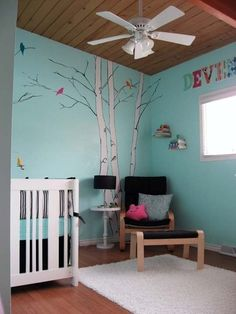 """Turn your blue boys room into a suitable girls room without painting the whole room! Add some pink owls for a splash of """"girl""""."""