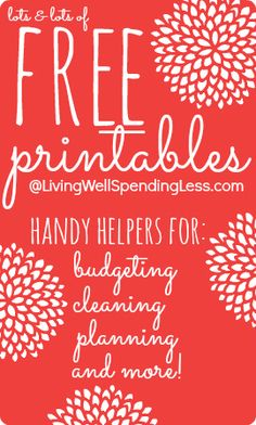 Lots & lots of FREE printables--awesome resource page includes budget worksheets, cleaning & organizing checklists, a holiday planner & more
