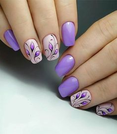 spring nails - Best Purple Nails Ideas You Should Try Now - Purple Nail Art, Purple Nail Designs, Short Nail Designs, Nail Designs Spring, Acrylic Nail Designs, Nail Art Designs, Purple Nails With Design, Nails Design, Cute Spring Nails