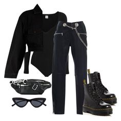 """Untitled #1026"" by jemappellejaime ❤ liked on Polyvore featuring Khaite, Miaou, Dr. Martens, Yves Saint Laurent and Alexander Wang"