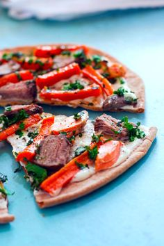 surf and turf flatbread on @udisglutenfree pizza crust. Ready in 15 minutes and a great way to use up your leftovers!  Little prep, great flavor, perfect for week nights or weekend! #recipe #cottercrunch