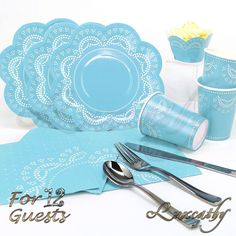 12 Guest Served Pink Blue Disposable Doily Lace Party Tableware Pack / Disposable plates are made from heavy cardboard for main course , salad and dessert. #partyideas #tableware #blue #lace #birthdayparty