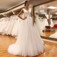 LORIE Wedding Dress 2019 Puff Tulle Vintage Princess Bridal Dress V Neck Sexy Backless Wedding Gown New – fashion Wedding Dresses Under 100, V Neck Wedding Dress, Backless Wedding, Elegant Wedding Dress, White Wedding Dresses, Bridal Dresses, Tulle Wedding, Wedding Gowns, Wedding Simple