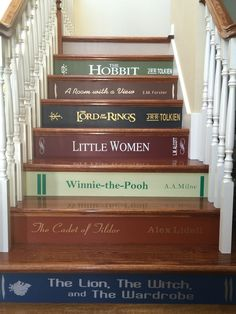 New house goals stairs stairways Ideas Stairs Vinyl, Staircase Decals, Book Staircase, Painted Stair Risers, Basement Movie Room, Family Room Walls, Graffiti, Basement Windows, Stair Decor