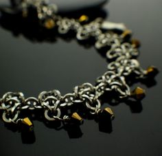 Crystal Back Square Stainless Steel Chainmail Bracelet, Anklet or Necklace Kit