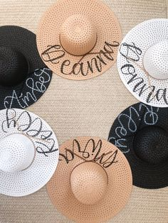 DIY Hand Lettered Straw Hats for Summer - Mirabelle Creations White Sharpie, Hand Lettering Quotes, Santa Rosa Beach, Beach Trip, Design Inspiration, Summer, Straw Hats, Office Decor, Diy