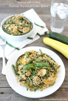 Quinoa with Grilled Summer Squash & Green Beans | Two Peas and Their Pod