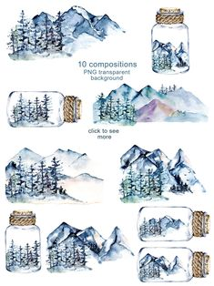 Mountains and forest, watercolor set by Larisa Maslova on Watercolor Books, Watercolor Sketch, Watercolor Paintings, Watercolor Stickers, Nature Illustration, Watercolor Illustration, Graphic Illustration, Digital Illustration, Drawing Clipart