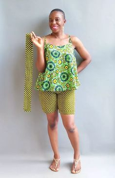 African Print Flared Spaghetti Strap Top and Shorts by tsh-by-tonia - 2 - Afrikrea African Traditional Dresses, African Clothes, Spaghetti Strap Top, Warm Weather, Casual Wear, Cotton Fabric, Shorts, How To Wear, Tops