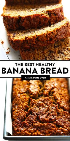 The BEST healthy banana bread recipe! It's easy to make, naturally gluten-free (made with oat flour) and dairy-free (coconut oil instead of butter), and full of the BEST banana flavors! Enjoy while it's nice and warm, or freeze the leftovers for later. | gimmesomeoven.com #banana #bread #healthy #breakfast #brunch #dessert #glutenfree #vegetarian #sweet