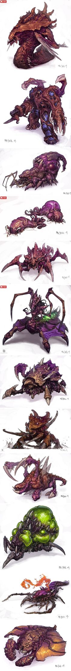 Starcraft Aliens.  ★ || CHARACTER DESIGN REFERENCES…