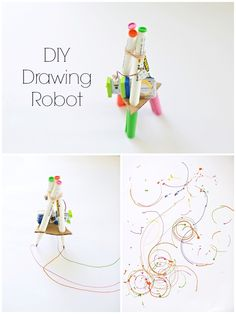 Make a DIY drawing robot out of a few easy parts. So much fun to watch in action! #robotcrafts