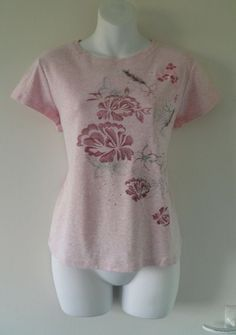 M&S Pretty Butterfly Floral Fairy Embroidered Tee Shirt Top T-Shirt Womens 18 46 00.99
