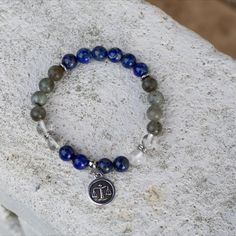 Astrology star sign beaded stack bracelet with Libra zodiac charm, Healing crystals, Natural stones. Birthstones Quartz Stone, Quartz Crystal, Bracelets For Men, Beaded Bracelets, Astrology Stars, Gemstone Properties, Libra Zodiac, Healing Crystals, Pouch Bag