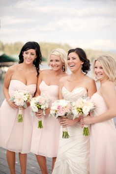 Bridesmaid Dresses pink bridesmaid dresses, i would definetly choose these dresses for my bridsmaids or if i were one myself - Lakeside Idaho Wedding in Pink and White at Hayden Lake Country Club photographed by Rebecca Hollis Photography Pink Bridesmaid Dresses Short, Blush Pink Bridesmaids, Brides And Bridesmaids, Pink Dresses, Bridal Dresses, Wedding Bells, Wedding Gowns, Wedding Wishes, Wedding Inspiration