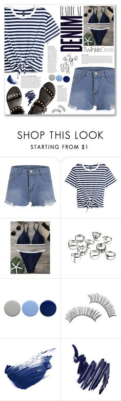 """""""denim shorts (twinkledeals 159)"""" by myduza-and-koteczka ❤ liked on Polyvore featuring Alima, Anja, Burberry, By Terry and Napoleon Perdis"""