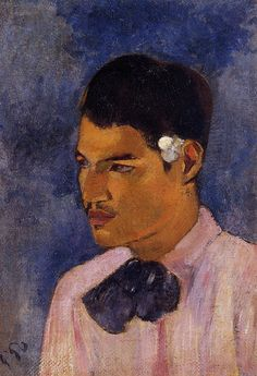 Paul Gauguin: Young Man with a Flower Behind His Ear (1891).
