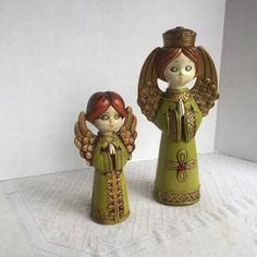 Vintage Chalkware Angels Made in Japan / Handpainted Green and Gold Christmas Angel Figurines by vintagepoetic on Etsy