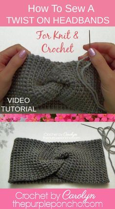 DIY Video Tutorial: How To Sew A Twist On Headbands on The Purple Poncho, Crochet by Carolyn This DIY video tutorial will show you how to sew a seam into an attractive twist on your knit and crochet headbands and ear warmers! It's really simple too. Diy Crochet Video, Crochet Videos, Learn To Crochet, Crochet Crafts, Free Crochet, Knit Crochet, Crochet Instructions, Crochet Headband Pattern, Crochet Fabric