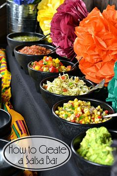 How to Create a Salsa Bar - Fiesta theme party - Mexican Birthday Parties, Mexican Fiesta Party, Fiesta Theme Party, Mexican Dinner Party, Mexican Food Parties, Fiesta Party Foods, Mexican Wedding Foods, Fiesta Games, Mexican Fiesta Decorations