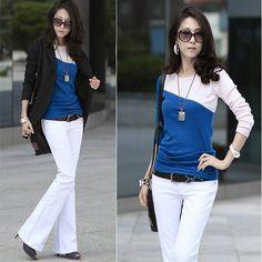 1Pc Blue Spring Autumn Tshirt Women Tops Feminino Long Sleeve Splice Slim Fitted T Shirt Casual Tee Shirt Women T-Shirt