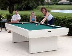 How fun for the the kids and mom and dad in the summer! 8 Foot All Weather Outdoor Pool Table Billiards White Game Table Durable Modern もっと見る Diy Pool Table, Outdoor Ping Pong Table, Custom Pool Tables, Outdoor Rooms, Outdoor Living, Outdoor Stuff, Side Yard Landscaping, Round Pool, Kitchen Shower