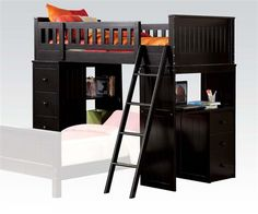 Willoughby Black Wood Loft Bed W/Storage