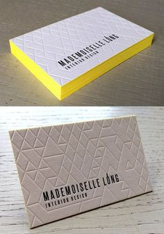 Deeply Embossed Geometric Line Texture On An Edge Painted Letterpress Business Card Embossed Business Cards, Metal Business Cards, Letterpress Business Cards, Unique Business Cards, Business Card Design, Presentation Logo, Stationery Design, Branding Design, Business Card Maker