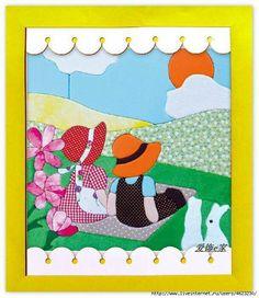 Patchwork sin aguja Applique Patterns, Applique Quilts, Applique Designs, Embroidery Applique, Quilting Designs, Quilt Patterns, House Quilts, Baby Quilts, Sue Sunbonnet