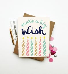 Make a Wish illustrated happy birthday card pastel by littlelow, $4.50