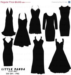 off SALE Black Dress Silhouette Digital by LittlePandaDigitals Silhouette Images, Dress Silhouette, Silhouette Projects, Bts Clothing, Clothing Hacks, Cartoon Chef, 60th Birthday Party, Shirt Outfit, Vintage Dresses