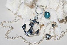 Silver Anchor Necklace Sterling Silver Pearl by ornatetreasures