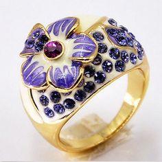 18K Rose Gold GP Swarovski Crystal Amethyst Jewelry Enamel Flower Ring R015 #Unbranded