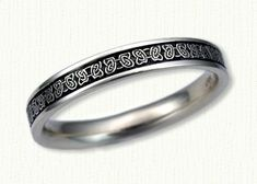 Celtic Narrow Butterfly Knot Wedding Band-Shown in 14kt White Gold with Black Antiquing. All Widths Available