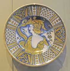 Plate with Profile of an Emperor ~ Italian (Deruta) ~ about 1520-1540 ~ Tin-glazed earthenware (maiolica)