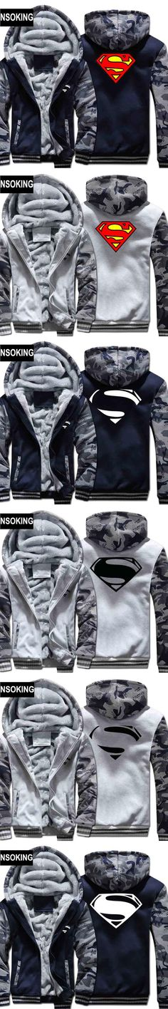 New Winter Warm Cool Superman Hoodies Anime Hooded Coat Thick Zipper men cardigan Jacket Sweatshirt G001