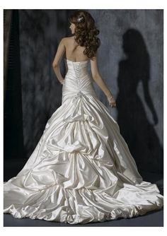 satin sweetheart a line skirt with pick up back design chapel train new style wedding dress wm 0199