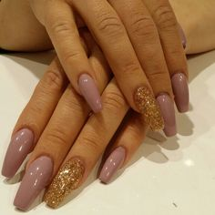 Nude#gold glitter #coffin nails