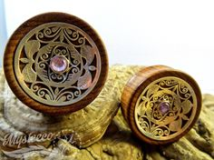 """40 mm (1 9/16"""") - Shisham Wood, Silver and Amethyst Ear Plugs - Double Flared - 1 Pair - Handmade - Sheesham - Hand Carved silver - Amethyst by MysteecoBodyJeweller on Etsy"""