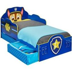 Paw Patrol Chase Kids Toddler Bed With Underbed Storage By HelloHome Toddler Bed With Storage, Kids Toddler Bed, Boy Toddler Bedroom, Under Bed Storage, Boy Room, Paw Patrol Bedroom Set, Paw Patrol Toddler Bedding, Paw Patrol Bedding, Bed With Underbed