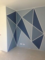 Shades of blue Painters Tape Art, Tape Painting, Wall Painting Decor, Wall Decor, Room Decor, Volleyball Room, Garage Paint, Geometric Wall, Room Paint