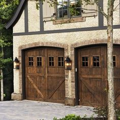 tan/beige with gray/beige trim and Oak Garage Door light house body dark trim black accents