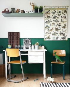 Dinosaurs Bring History and Curiosity into the Kid's Room Dinosaurs Bring History and Curiosity into Boys Room Decor, Boy Room, Kids Bedroom, Bedroom Decor, Room Kids, Bedroom Ideas, Green Kids Rooms, Half Painted Walls, Kids Room Wallpaper