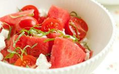 Watermelon Salad with Tomatoes, Goat Cheese and Basil...so refreshing!