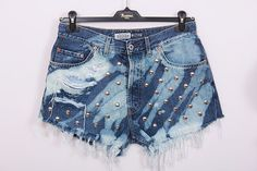 High Waisted Denim Shorts Vintage Destroyed DIY Cut Off Jeans XL