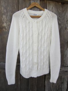 Snow White Cable Knit Cardigan, L // Vintage Knit Sweater // Winter Holiday Sweater Cable Knit Cardigan, White Cardigan, Office Chic, Holiday Sweater, Almost Always, Vintage Knitting, Classic White, Winter Holidays, Im Not Perfect