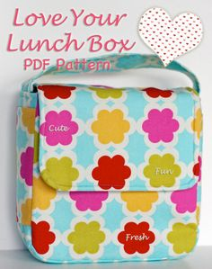 Sew A Bag Lunch bag PDF pattern - This is a darling little lunch box sewing pattern is designed for elementary school students. It features a boxy shape, side pockets, Sewing Hacks, Sewing Tutorials, Sewing Crafts, Sewing Projects, Diy Crafts, Sewing Tips, Sewing Box, Fun Projects, Box Patterns