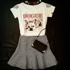 Camiseta Estampa Dogue Mini Bolsa Preta Saia pied de poule